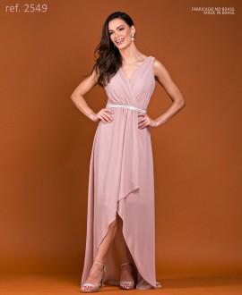 Vestido de festa longo mullet de chiffon rose ref.2549