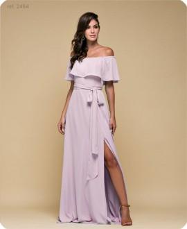 Vestido de festa longo liso - Ref. 2464 - Rosê, Magenta, Petróleo, Marsala