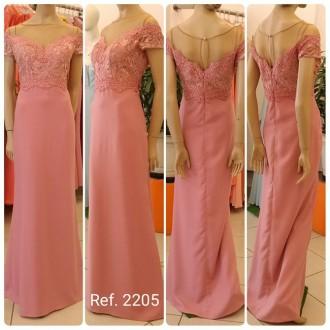 Vestido de festa longo sereia com guippir bordado - Ref. 2205