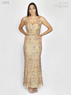 Vestido de festa longo todo paetê e bordado Dourado ou marsala - Ref. 2416