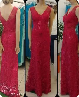 Vestido de festa longo Tule bordado ref. 2171