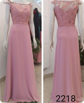 Vestido de festa longo Tule bordado Rosa, Royal Turquesa Pink ref. 2218