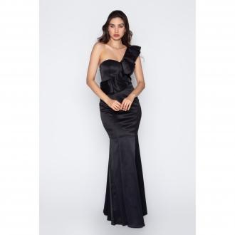 Vestido de festa longo um ombro preto ref.P504