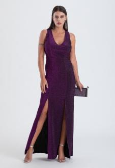 Vestido de festa lurex  Roxo - Ref. 2394