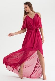 Vestido de festa magenta alça - Ref. 2468