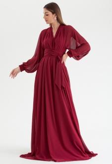 Vestido de festa Marsala multi-tamanho manga longa Ref. 2725