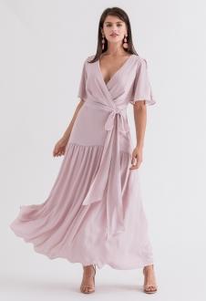 Vestido de festa maxi rosê claro ref. 2695