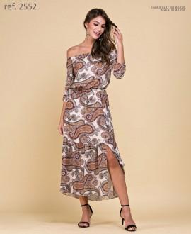Vestido de festa midi estampa paisley Marrom - Ref. 2552
