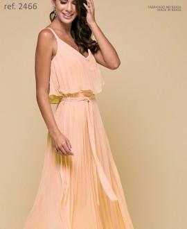 Vestido de festa Midi salmão Plissados - Ref. 2466