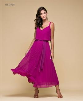 Vestido de festa Plissado magenta - Ref. 2466