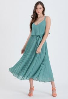 Vestido de festa plissado verde salvia - Ref. 2466
