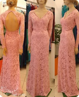 Vestido de festa renda com manga longa rosê ref. 2140