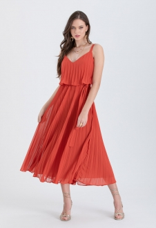 Vestido de festa terracota Plissados - Ref. 2466