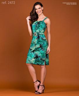Vestido de festa tubinho curto de sarja estampado - Ref. 2472 Preto