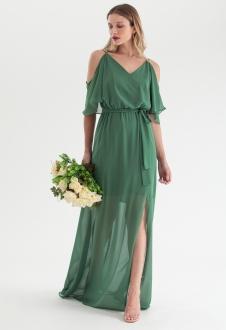 Vestido de festa verde oliva alça - Ref. 2468