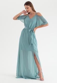 Vestido de festa verde salvia alça - Ref. 2468
