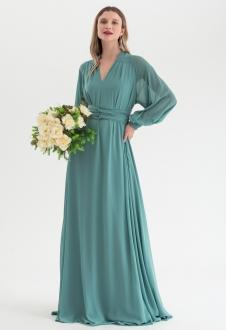 Vestido de festa Verde Salvia multi-tamanho manga longa Ref. 2725