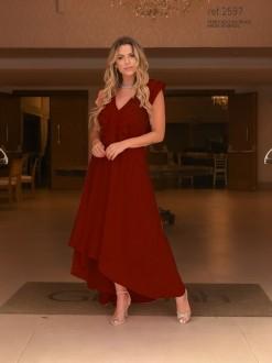 Vestido de festa vinho (marsala) mullet  ref. 2597