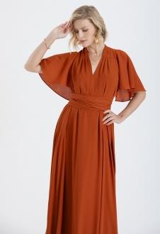 Vestido de madrinha terracota ajustável ref.2593