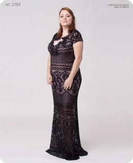 Vestido de renda bordado decote - Ref. 2289