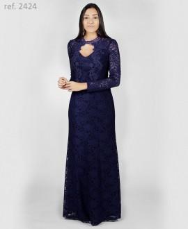 Vestido de renda Marinho manga longa com detalhes em guippir - Ref. 2424
