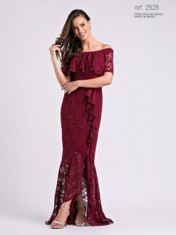 Vestido de renda mullet marsala  ref. 2525