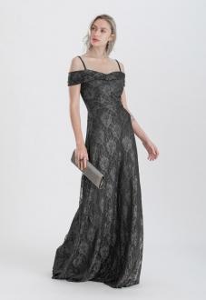 Vestido de renda ombro a ombro dourado preto - Ref. 2422
