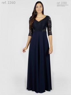 Vestido de renda para festa com manga 3/4 e bordado azul marinho - Ref. 2260