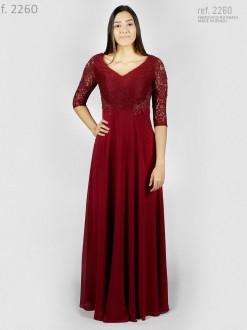 Vestido de renda para festa com manga 3/4 e bordado marsala- Ref. 2260
