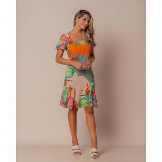 Vestido estampado  com manguinha Ref. B3634
