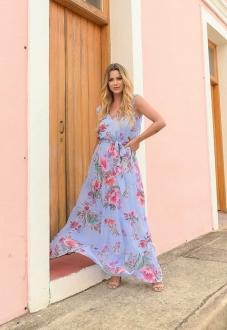 Vestido de festa estampado floral azul - Ref. 2648