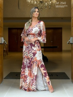 Vestido estampado longo de cetim Vinho ref. 2542