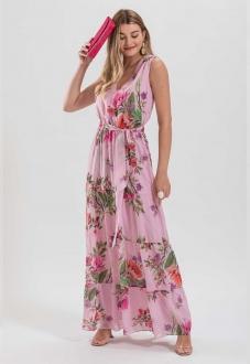 Vestido estampado longo rosa  - Ref. 2648