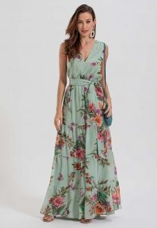 Vestido estampado longo verde - Ref. 2648