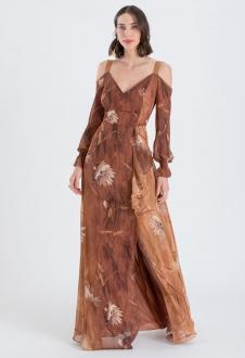 Vestido estampado terracota manga longa - Ref. 2434