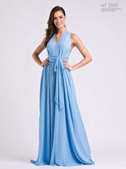 Vestido longo de chiffon Azul Serenity Liso amarração - Ref. 2580