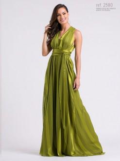 Vestido longo de chiffon ELEA listrado Verde Oliva - Ref. 2580