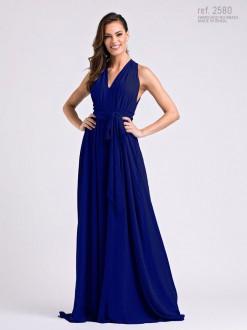 Vestido longo de chiffon Marinho Liso  amarração - Ref. 2580