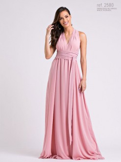 Vestido longo de chiffon Rose Liso Tamanh único p/  amarração - Ref. 2580