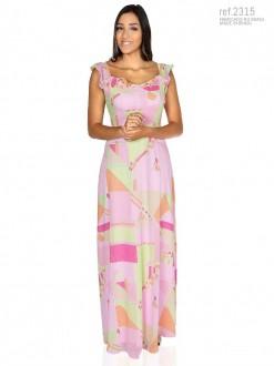 Vestido longo de crepe estampado alça de babados - Ref. 2315