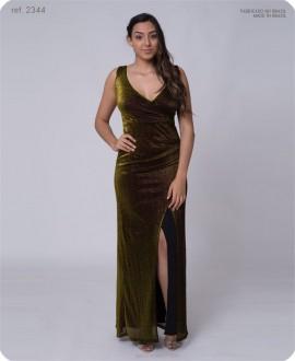 Vestido longo de lurex com fenda - Ref. 2344