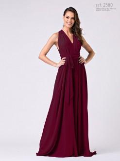 Vestido longo de Marsala de chiffon Liso  - Ref. 2580