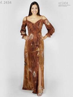Vestido longo estampado com fenda e babados - Ref. 2434