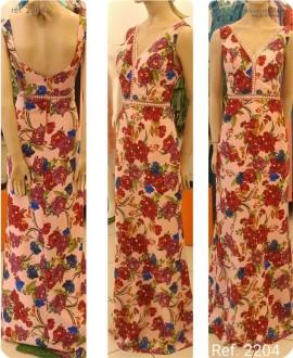 Vestido longo estampado floral fundo rosa ref. 2204