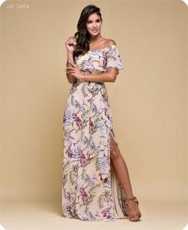 Vestido longo estampado fundo nude - Ref. 2464 flor