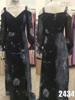 Vestido longo estampado Marinho com fenda e babados - Ref. 2434