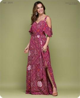 Vestido longo estampado Maxi Deco ref. 2511 Vermelho