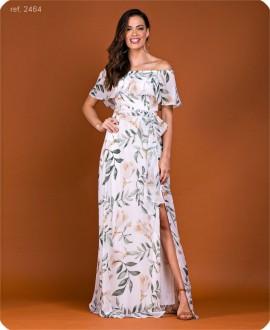 Vestido longo estampado T38 verde última peça - Ref. 2464 folha