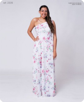 Vestido longo estampado um ombro com xale - Ref. 2335