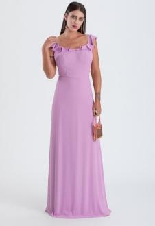 Vestido longo lilás de crepe com alça de babados - Ref. 2315
